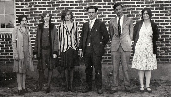 Teachers in Leola Schools, from left to right: Albertice Shearer, Ruby Sharp, Wilma Stephens Thornton, Superintendent Raymond Thornton, De Woody Rhodes, and Rose Rhodes, 1928 © Pryor Center for Arkansas Oral and Visual History, University of Arkansas